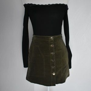 Forever 21 Olive Green Corduroy Skirt Small